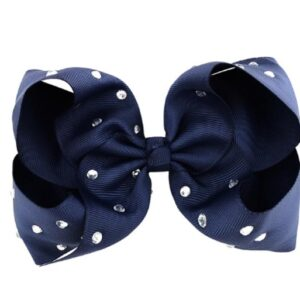 Hand- made alligator clip with large dark blue bow with strass