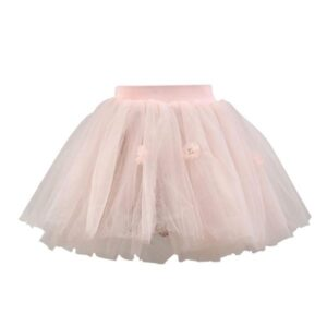 Flower Pink Tutu Layered Skirt With Floral Print Lining