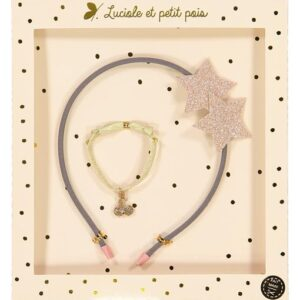 Gift Set with Hairband of stars and Bracelet with golden cherries