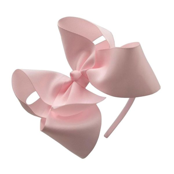 Hand- made fabric headband with large pink bow