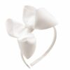 Hand- made fabric headband with large white bow