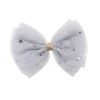 Hand- made alligator clip with large grey bow with strass
