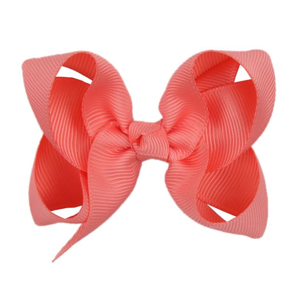 Hand- made alligator clip with medium coral bow