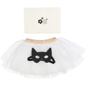 Handmade Set with white Tutu and black cat mask in a beautiful box.