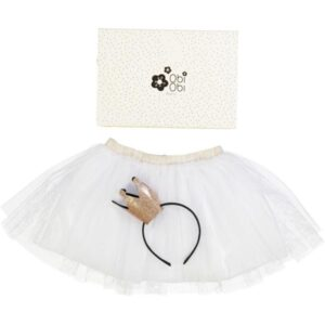 Handmade Set with white Tutu and crown in a beautiful box.