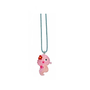 Handmade Necklace with cute pink creature of sea_Seahorse