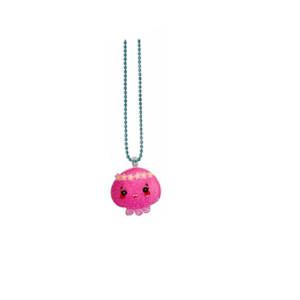 Handmade Necklace with cute pink creature of sea_ Medusa