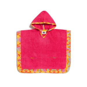 Shooting Stars Fluo Kids Poncho with hood of 100% cotton