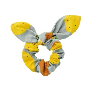 Handmade light blue scrunchie with fruit patterns and bow