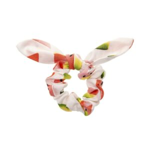 Handmade white scrunchie with watermelon and bow