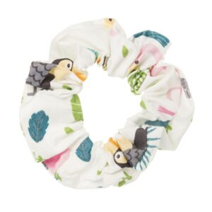 Hand made white scrunchie with parrots