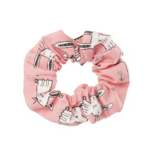 Hand made pink scrunchie with bunnies
